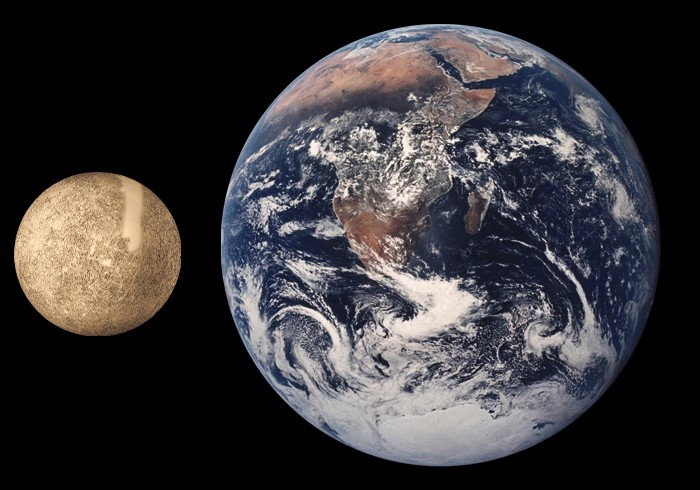 Comparación entre la Tierra y Mercurio