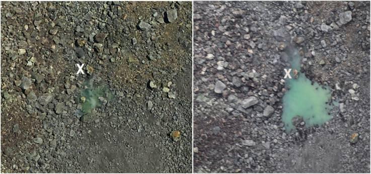El estanque verde como se vio el 25 de julio (izquierda) y un vuelo de observación el 1 de agosto (derecha)