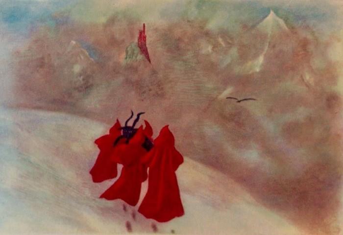 Pintura realizada por el propio Crowley en 1929. Titulada: «Cuatro monjes rojos llevando una cabra a través de la nieve a ninguna parte»