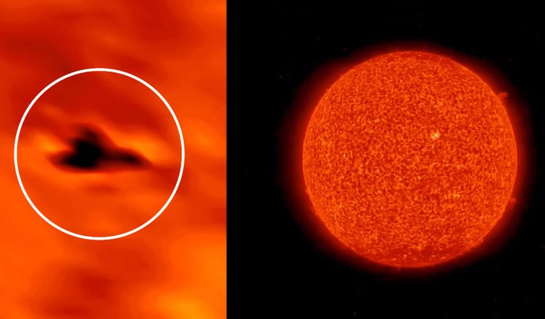 Anomalía con forma de nave vista sobre la superficie del Sol durante meses