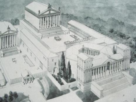 Reconstrucción propuesta para el completo de templos romanos
