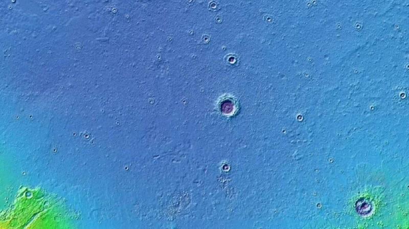 Mapa de elevación del cráter Lomonosov