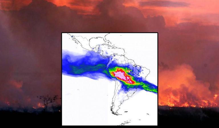 El humo de los incendios en la Amazonía está cubriendo Sudamérica