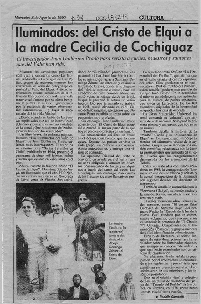 Un artículo de la época, narrando sobre las andanzas de la Hermana Cecilia y su Grupo