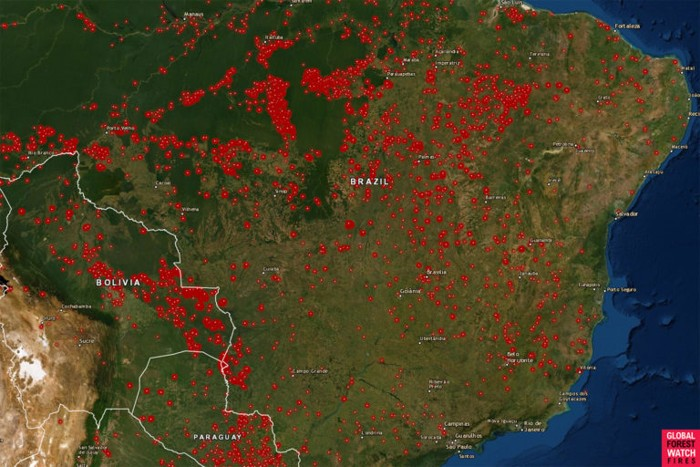 Mapa que muestra los incendios activos para la semana del 13 de agosto de 2019 en la Amazonía brasileña utilizando datos satelitales VIIRS y MODIS