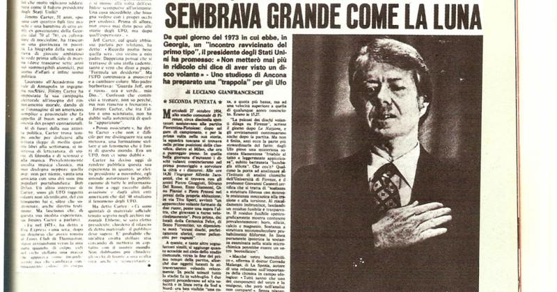 Recorte de prensa de un medio italiano, haciéndose eco sobre las declaraciones de Carter, acerca del incidente ovni protagonizado en 1979