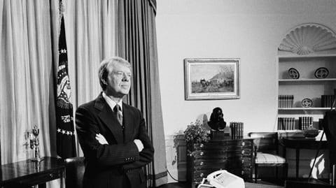 Jimmy Carter retratado en la Casa Blanca, 1977