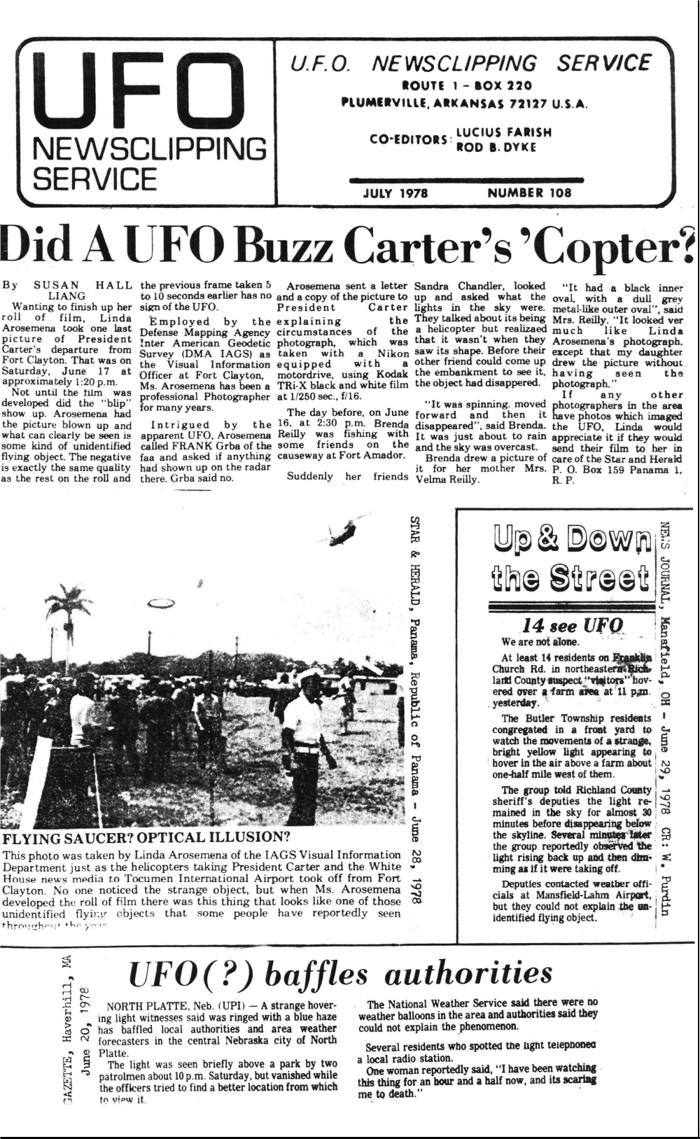 Una toma de la fotógrafa Linda Arosemana, retratando extraños objetos en Panamá, mientras Carter parte en uno de los helicópteros, durante su visita de 1977
