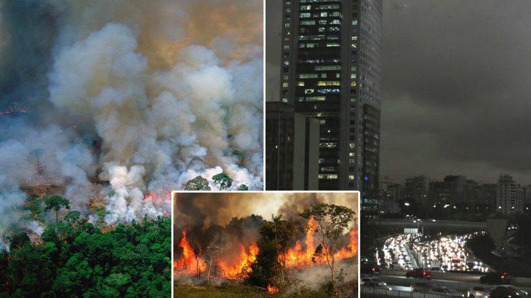 La Amazonía está en llamas, Sao Paulo se vuelve de noche por el humo y el gobierno de Brasil continúa apoyando la deforestación