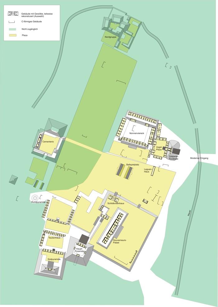 Mapa de las partes accesibles de Uxmal