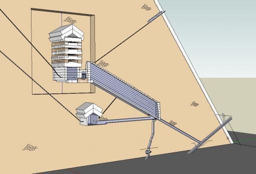 Modelo 3D del interior de la pirámide.