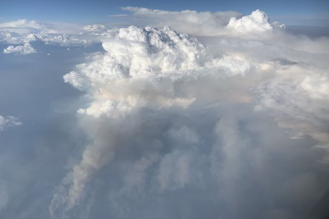Debajo de las nubes de tormenta blancas e hinchadas, se ven columnas de humo de incendios forestales