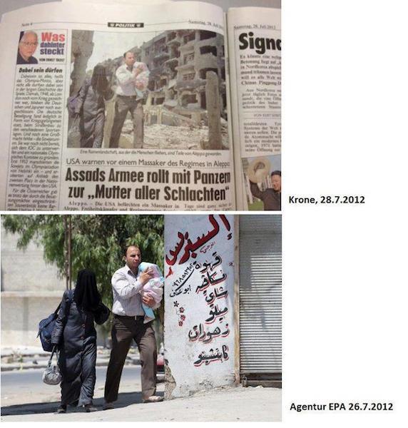 Las imágenes muestran contextos extremadamente diferentes, y la imagen editada podría considerarse como propaganda de guerra