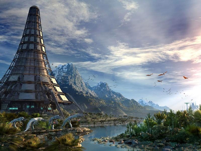 Representación artística de un planeta con vida
