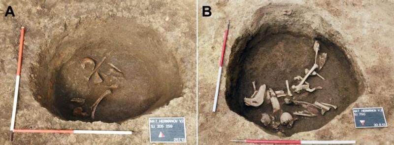 El pozo de enterramiento donde se encontraron los individuos