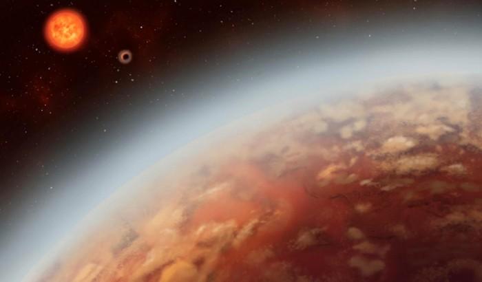 Representación artística que muestra dos exoplanetas: K2-18 b y c, que orbitan la estrella enana roja K2-18