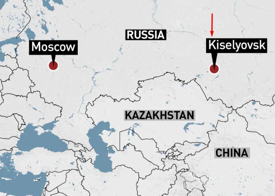 Ubicación de Kiselyovsk en Rusia