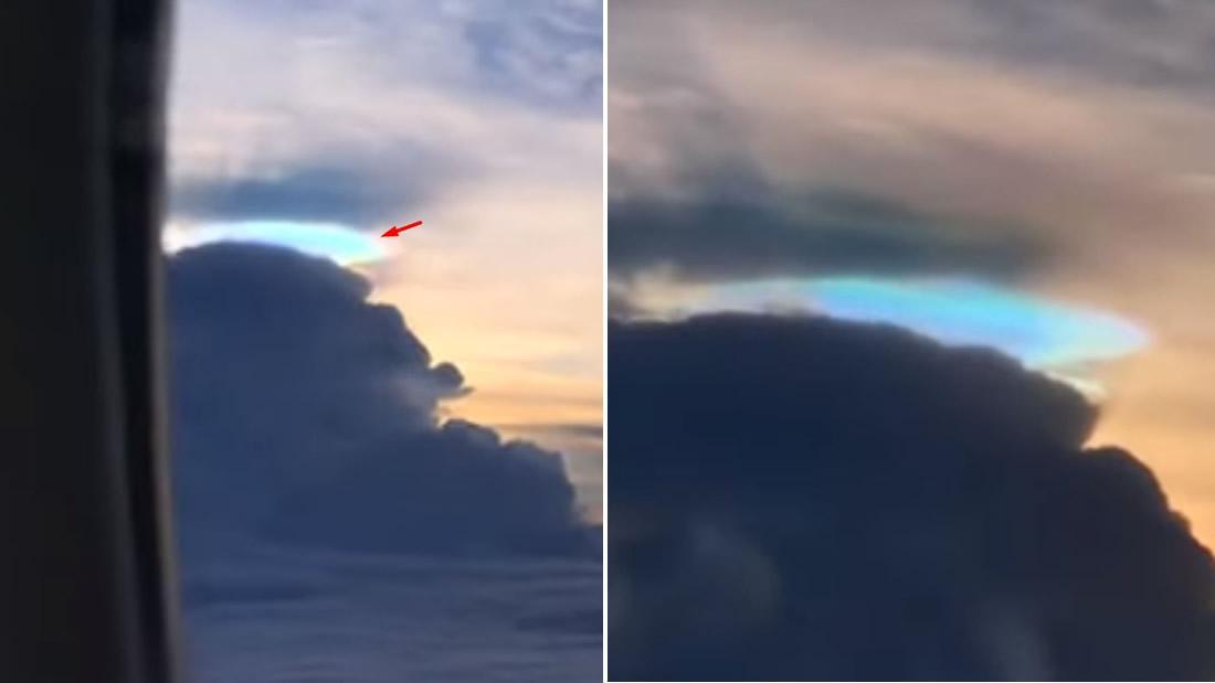 Anomalía con forma de disco de color azul aparece sobre las nubes en Taiwán