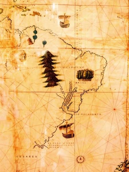 Un mapa de la época colonial, señalando los Césares como ciudad viva