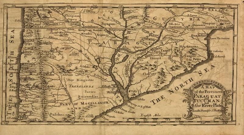 Mapa que refleja Trapalanda, datado de 1698