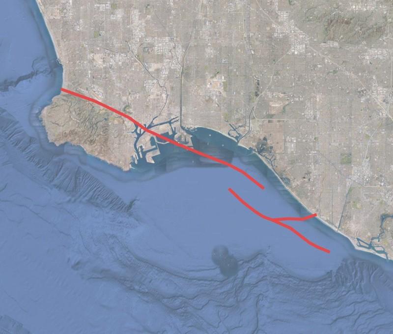 El camino de la falla de empuje ciego de Wilmington a través de la Cuenca de Los Ángeles, que se muestra en rojo. La investigación realizada por la Harvard University y el Servicio Geológico de EE.UU. muestra que la falla, que se cree que está inactiva, está realmente activa