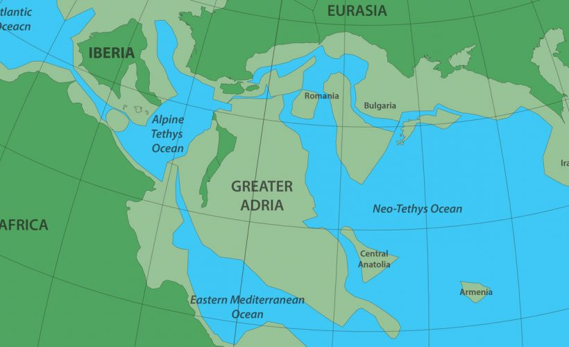 Greater Adria o Gran Adria, que más tarde quedó enterrado por debajo del sur de Europa, era una masa de tierra del tamaño de Groenlandia (partes sumergidas en verde grisáceo) al sur del continente
