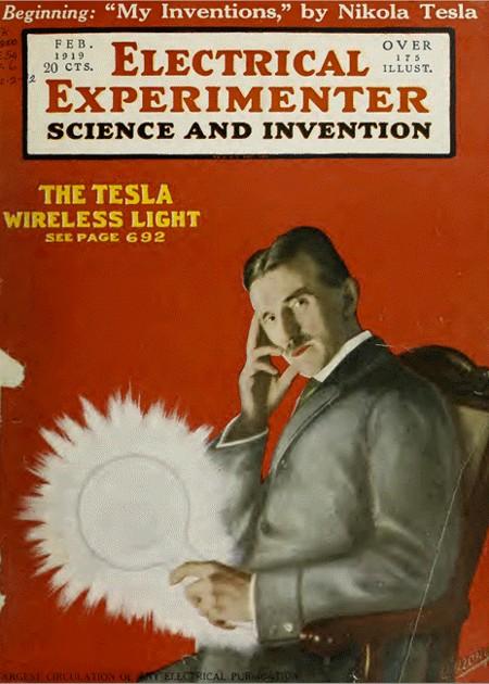 Tesla en la portada de Electrical Experiment, que divulgó mucho de su trabajo