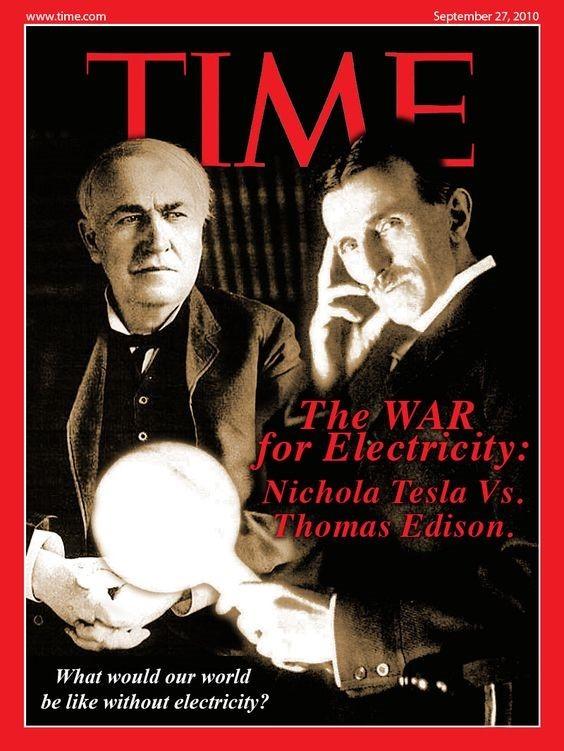 Portada de la revista Time con Edison y Tesla en portada