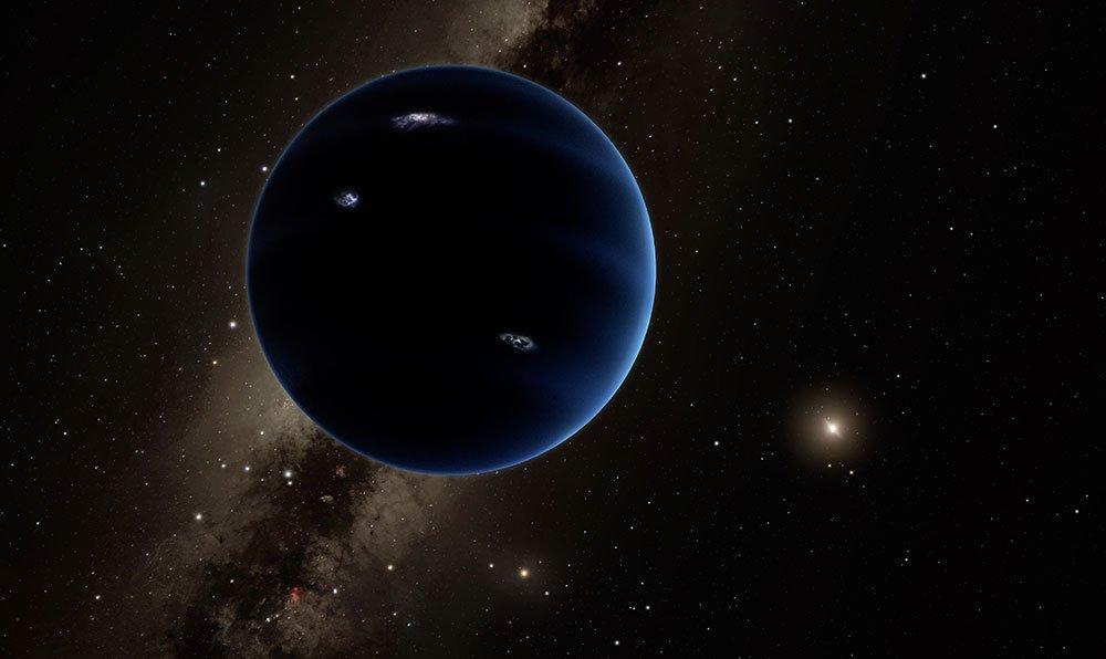 Esta representación artística muestra la lejana vista desde el Planeta Nueve hacia el sol. Se cree que el planeta es gaseoso, similar a Urano y Neptuno. Rayos hipotéticos iluminan el lado nocturno. Ahora, un nuevo estudio sugiere que el Planeta Nueve podría ser un agujero negro