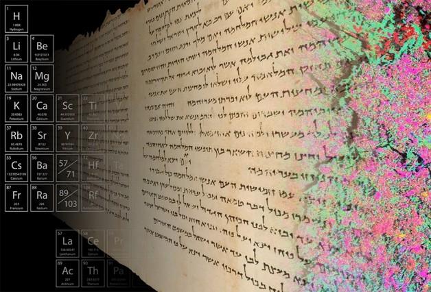El mapeo de alta resolución de la distribución de elementos en una muestra del Temple Scroll de 2.000 años de antigüedad, como se muestra en los colores a la derecha de esta imagen, proporciona información sobre los antiguos métodos de fabricación del pergamino