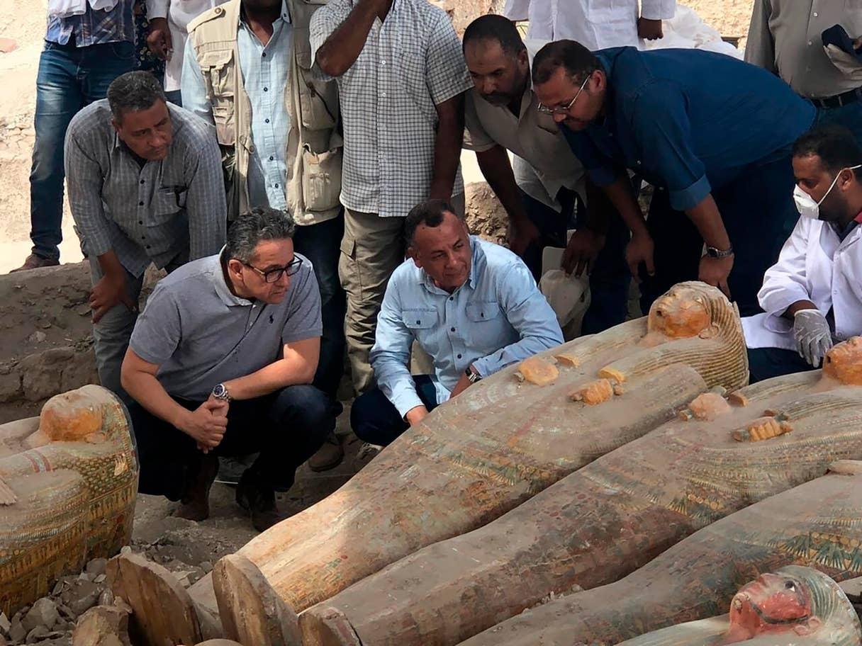 Se encontraron sarcófagos con inscripciones y pinturas en la orilla oeste del río Nilo, cerca de Luxor
