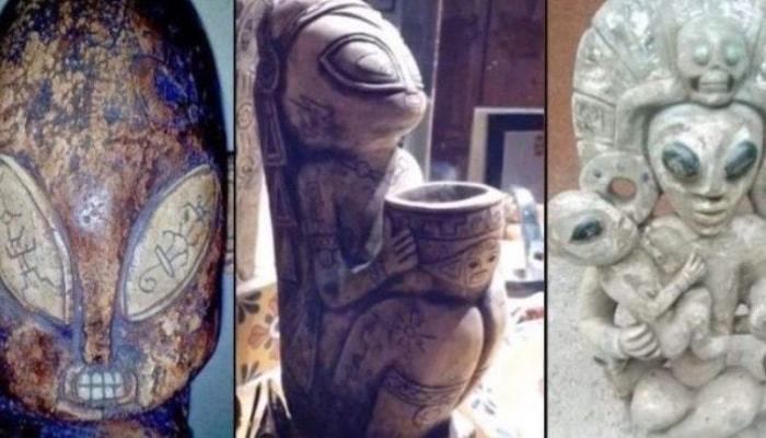 Objetos encontrados en cuevas y monumentos mayas