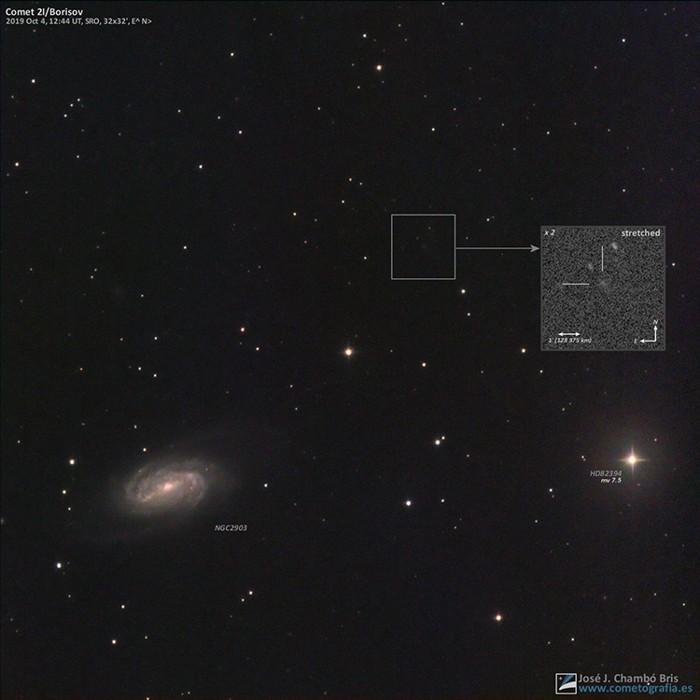 El cometa interestelar 2I/Borisov fotografiado el 4 de octubre de 2019 justo cuando pasó a una distancia angular de solo 15 minutos de arco de la galaxia espiral NGC 2903 en la constelación de Leo