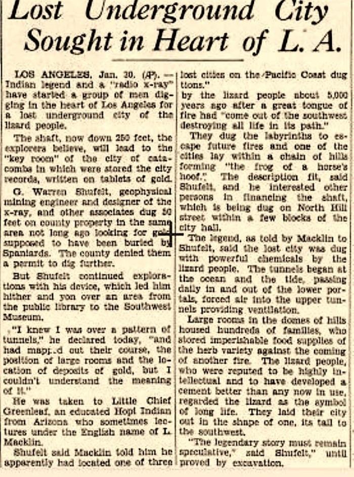 Un titular de la época. Ciudad Perdida Buscada en el Corazón de L.A. Enero de 1934