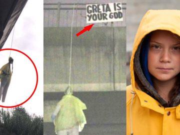 Cuelgan muñeco de Greta Thunberg de un puente en Roma