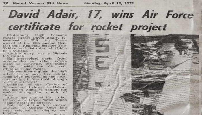 Recorte del diario Mount Vernon News del 19 de Abril de 1971