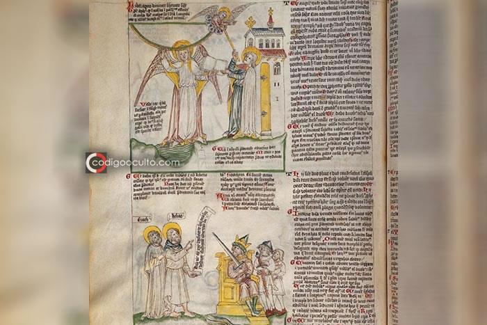Ilustraciones del libro Apocalipsis, de 1420, con Enoc, Elías, un ángel y el Anticristo