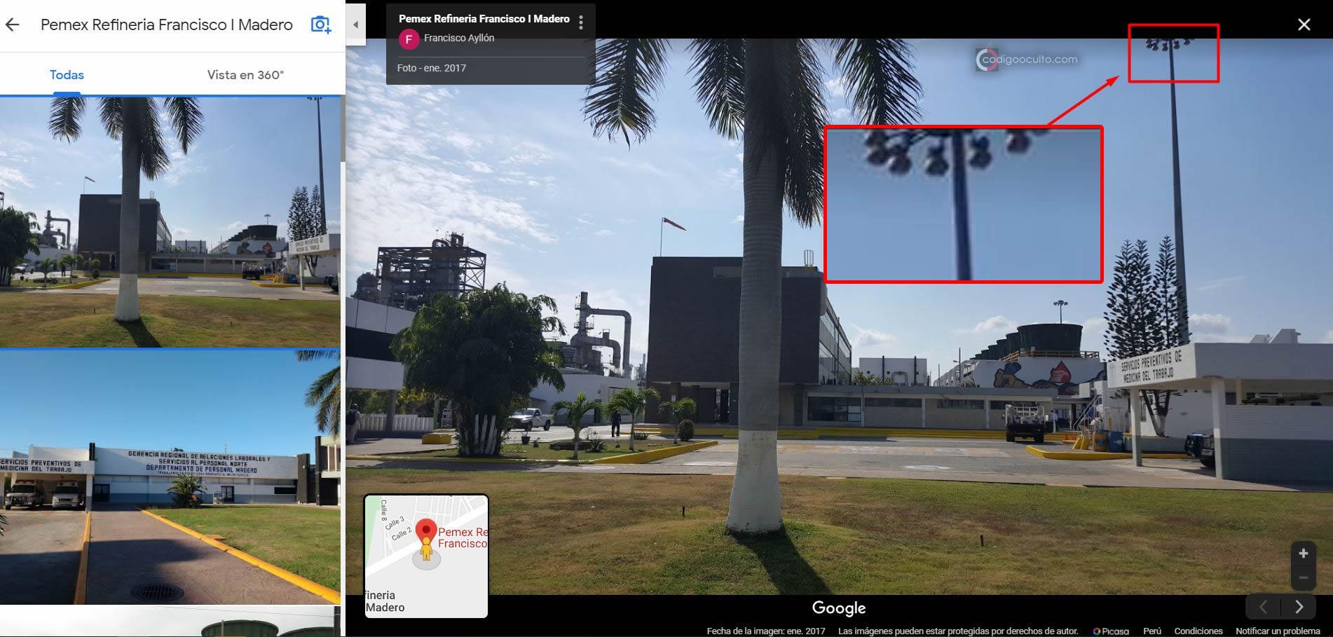 Farolas de calle con forma de platillo cerca de la Refinería Francisco Madero I Pemex, mismo lugar donde se fotografió el supuesto OVNI