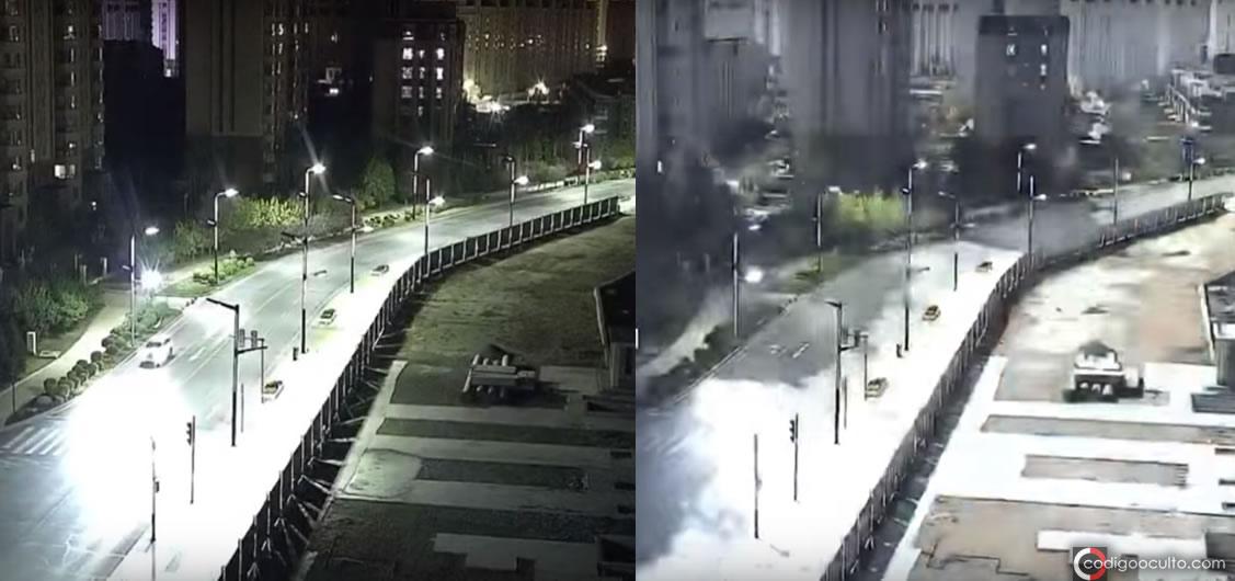 Otra imagen que muestra cómo la noche se ilumina, dejando la ciudad bastante iluminada por cortos segundos
