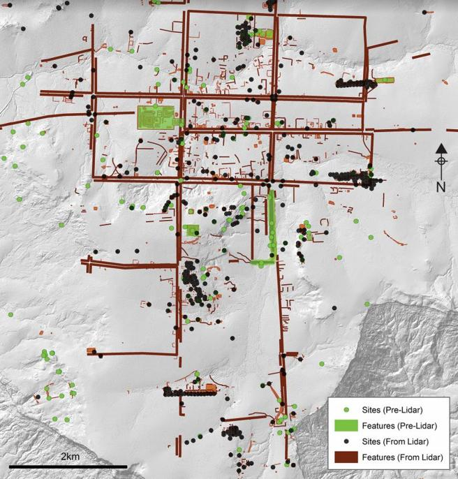 Detalle de la planificación cuadriculada de la ciudad capital