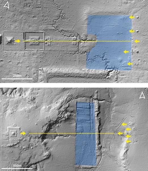 Eje y orientaciones de la pirámide central, reservorio y santuarios asociados en Koh Ker (arriba) y Mahendraparvata (abajo)