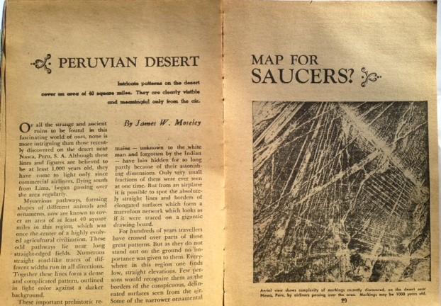 La primera mención de las Líneas de Nazca vinculado al concepto de Antiguos Astronautas