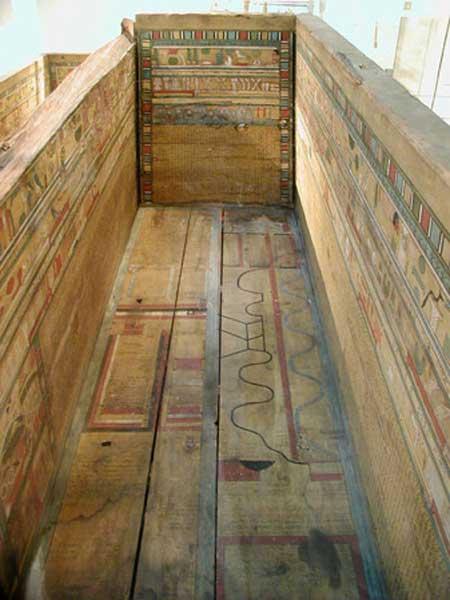 Mapa del inframundo en el sarcófago de Gua, encontrado en Deir el-Bersha, Egipto. Dinastía 12, 1985-1795 a.C. Actualmente en el Museo Británico.