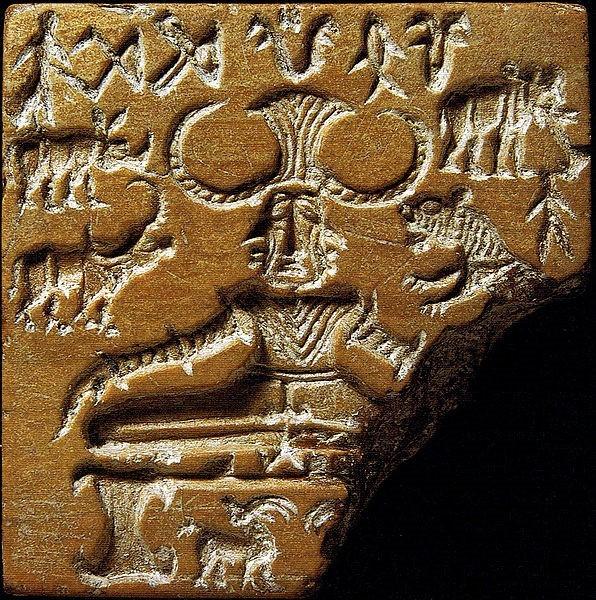 Pasupati el señor de las bestias, encarnación de Shiva. Uno de los sellos más representativos de la llamada civilización Valle del Indo