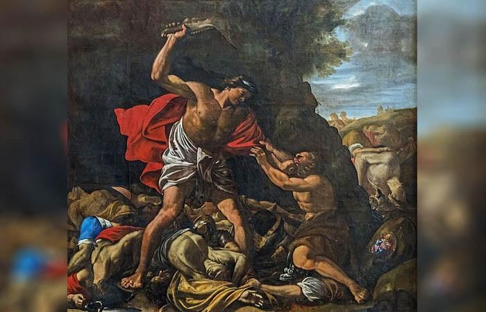 «Sansón masacra a los filisteos», pintura de Hilaire Pader