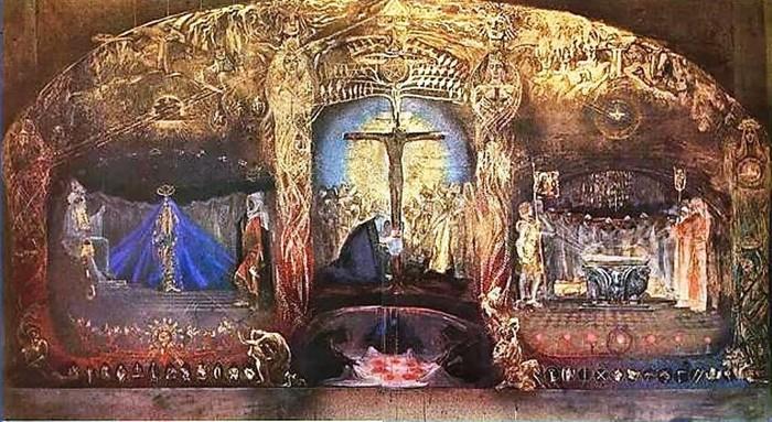Pintura que se atribuye al desaparecido esoterista alemán Rudolf Steiner, donde se revela la iniciación de Christian Rosenkreutz
