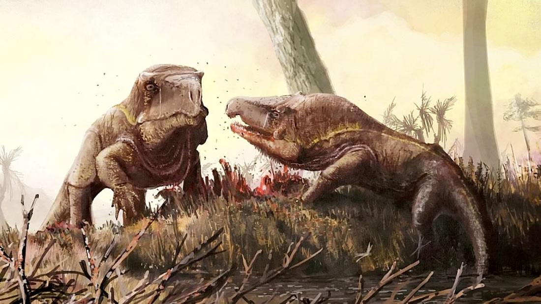 Criaturas similares a Dragones de Komodo con cabezas gigantescas deambularon por la Tierra