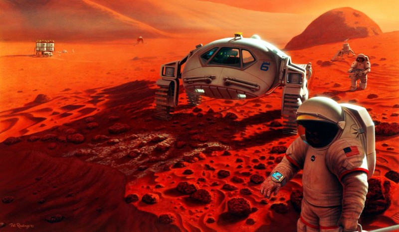 Esta representación artística muestra una misión tripulada a Marte