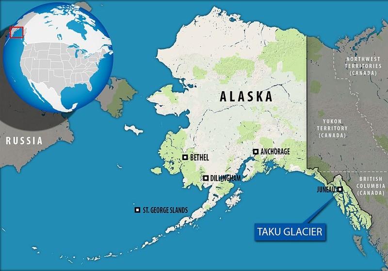 Ubicación del glaciar Taku al norte de Juneau, Alaska