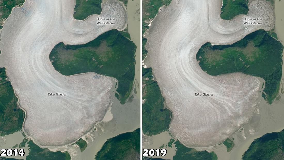 Izquierda: Se puede ver el glaciar Taku en Alaska en esta imagen satelital capturada en agosto de 2014. Derecha: La fragmentación del hielo y la retirada de la línea de nieve revela que el glaciar Taku finalmente sucumbió al cambio climático en esta imagen satelital tomada en agosto de 2019